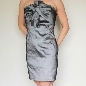 Romeo + Juliet Couture Strapless 80s dress Silver